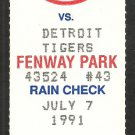 Detroit Tigers Boston Red Sox 1991 Ticket Wade Boggs 4 Hits Rob Deer HR