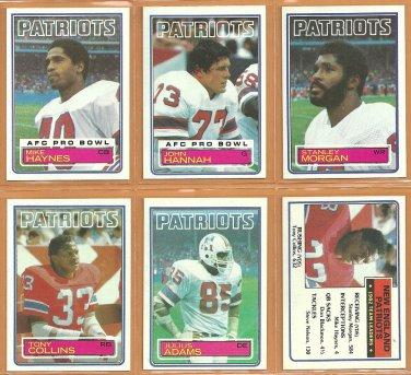 1983 Topps New England Patriots Team Lot 12 John Hannah Tony Collins Stanley Morgan Mike Haynes