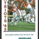 1985 New England Patriots Pocket Schedule Card Weei Radio Tony Eason Super Bowl Season