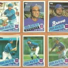 1985 1986 Topps Atlanta Braves Team Lot Joe Torre Steve Bedrosian Bob Horner Chris Chambliss