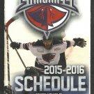 ECHL Charleston South Carolina Stingrays 2015 2016 Pocket Schedule