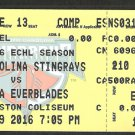 ECHL Charleston South Carolina Stingrays 2016 Ticket vs Florida Everblades