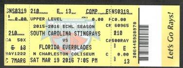 ECHL Charleston South Carolina Stingrays 2016 Ticket vs Florida Everblades