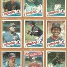 1985 Topps Cleveland Indians Team Lot 25 diff Joe Carter Brett Butler Andre Thornton Mike Hargrove