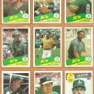 1985 Topps Oakland Athletics Team Lot 26 diff Joe Morgan Dave Kingman Carney Lansford Dave Lopes