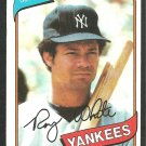 New York Yankees Roy White 1980 Topps Baseball Card 648 ex/nm