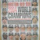 Boston Red Sox 2004 World Series Champions Newspaper Poster David Ortiz Manny Ramirez Curt Schilling