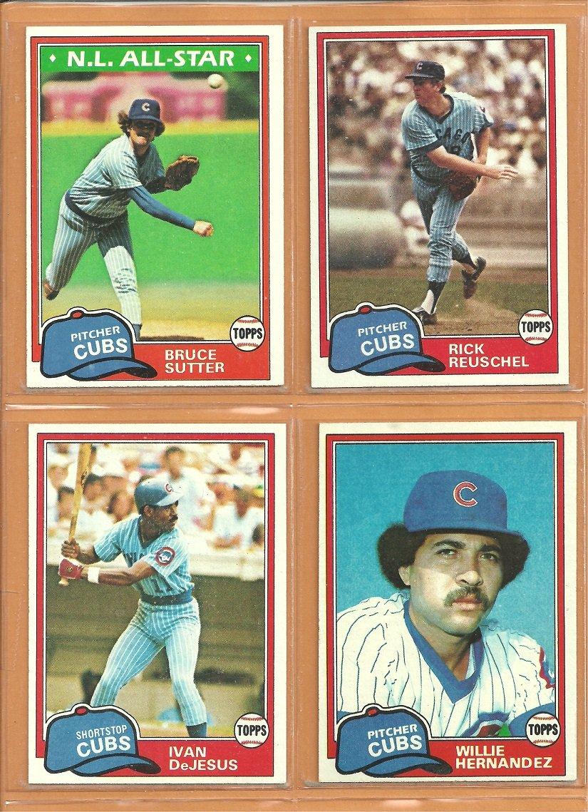 1981 Topps Chicago Cubs Team Lot 19 diff Bruce Sutter Rick Reuschel Willie Hernandez Mike Tyson