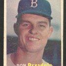 Brooklyn Dodgers Don Drysdale RC Rookie Card 1957 Topps Baseball Card 18 good