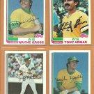 1982 Topps Oakland Athletics Team Lot 22 diff Tony Armas Mike Heath Wayne Gross Jeff Newman