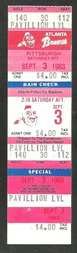 Pittsburgh Pirates Atlanta Braves 1983 Ticket Mike Easler hr Dale Murphy Bill Madlock Phil Niekro