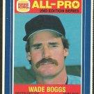 Boston Red Sox Wade Boggs 1987 Burger King All Pro Baseball Card 1 ex