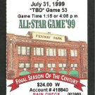 New York Yankees Boston Red Sox 1999 Ticket Roger Clemens Paul ONeill Chuck Knoblach Trot Nixon