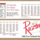 1985 NFL Complete Weekly Schedule Register With Selective Service