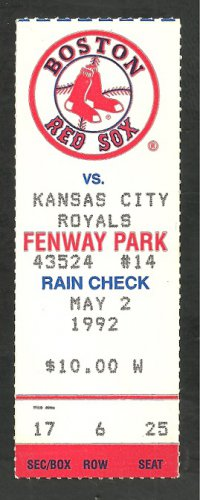 Boston Red Sox Kansas City Royals 1992 Ticket Wade Boggs Jack Clark Jody Reed