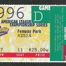 Boston Red Sox 1996 ALCS American League Championship Series Unused Ticket Fenway Park