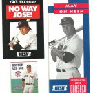 1995 Boston Red Sox Sox Jose Canseco 3 diff Items Pocket Schedule Flyer Brochure