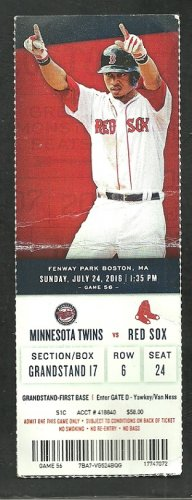 Boston Red Sox Minnesota Twins 2016 Ticket Hanley Ramirez Dustin Pedroia Mookie Betts Bogaerts