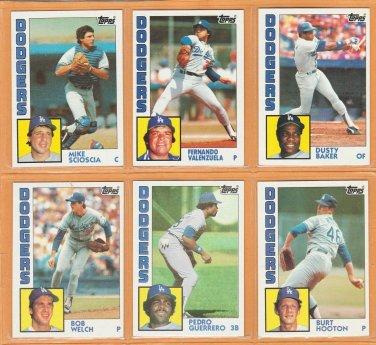 1984 Topps Los Angeles Dodgers Team Lot 21 Fernando Valenzuela Dusty Baker Mike Scioscia Bob Welch