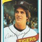 Detroit Tigers Dave Rozema 1980 Topps Baseball Card 288 ex mt