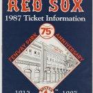 Boston Red Sox 1987 Ticket Information Brochure Roger Clemens Bill Buckner Logo Envelope