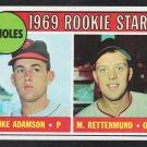 Baltimore Orioles Rookie Stars Merv Rettenmund Mike Adamson 1969 Topps Baseball Card 66 nr mt