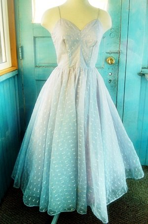 Beautiful 1950s Baby Blue Embroidered Full Skirted Prom Dress Small