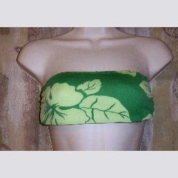 New Jag Green on Green Floral Print Bandeau Swim Top S