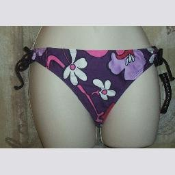 NWT Rampage Purple Floral Prt Side Tie Bikini Bottom M