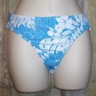 New VM Aqua with White Floral Print Bikini Bottoms L