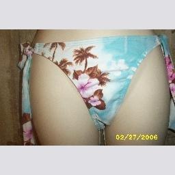 NWT Esprit Light Blue Floral Side Tie Bikini Bottoms XS