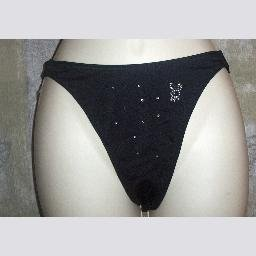 NWT Playboy Black Rio Bikini Bottoms w Beaded Bunny L