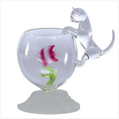 Glass Sculpture Cat And Fish Bowl