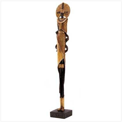 Golden Leopard Zulu Statue