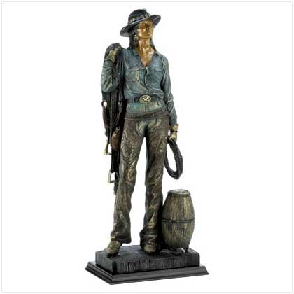 Old West Cowgirl Statue