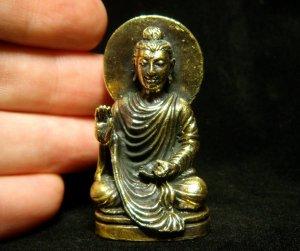 """Lord Buddha buddhist india nepal trance brass amulet statue figurine 1 1/8"""" X 2"""""""