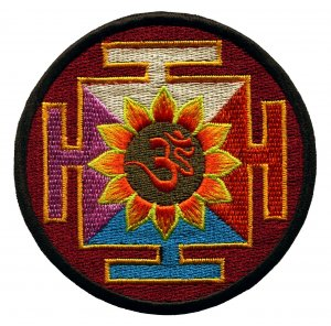 Aum om infinity lotus hindu trance embroidered iron-on patch applique T-42
