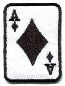 Ace of Diamonds poker playing card biker embroidered applique iron-on patch S-9