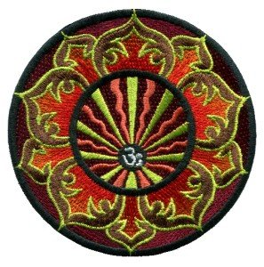 Aum om infinity lotus trance hindu hindi yoga indian iron-on patch T-3