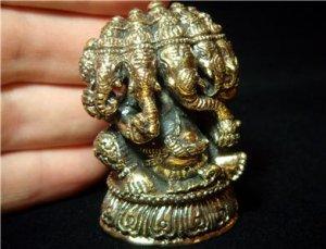 "Hindu Ganesh hinduism indian yoga trance brass figurine amulet new 1.5""X2"" KN1"