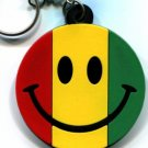 Reggae smiley face judah flag rasta keyring keychain