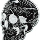 Skull tattoo horror biker goth emo punk rock metal applique iron-on patch S-255