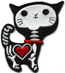 Black x-ray cat kitten goth creepy applique iron-on patch S-215