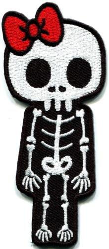 Skull skeleton goth punk emo horror biker applique iron-on patch S-261