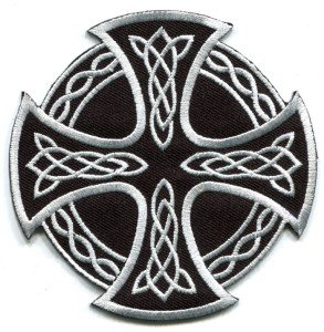 Celtic Cross Irish goth tattoo druids wicca pagan applique iron-on patch new S-5