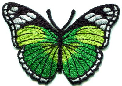 Butterfly green hippie retro boho embroidered applique iron-on patch S-163