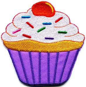 Cupcake retro fairy cake cup sweets desert applique iron-on patch S-203