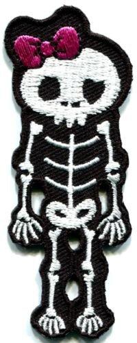 Skull skeleton goth punk emo horror biker applique iron-on patch S-257