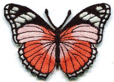 Butterfly peach hippie retro boho embroidered applique iron-on patch S-156