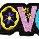 Love peace hippie retro embroidered iron-on patch S-36